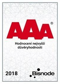 AAA certifikát potvrzení nejvyšší důvěryhodnosti pro firmu DCom, spol. s r.o.
