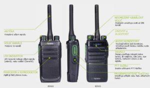 Přehled ovládacích prvků vysílačky Hytera BD555