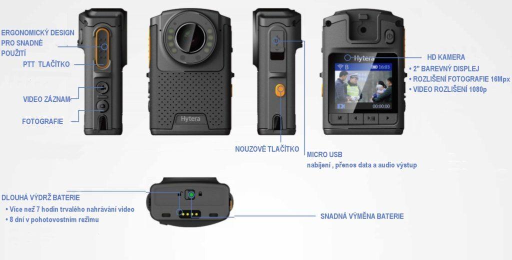 Rozmístění ovládacích prvků policejní kamery Hytera VM550D