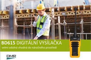 Odolná digitální vysílačka Hytera BD615 je vhodná pro tvrdou práci v náročném prostředí stavy a průmyslu