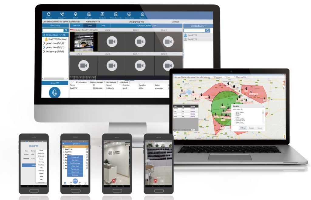 PoC řešení DComPTT zahrnuje server, mobilní i dispečerskou aplikaci a podporuje celou paletu funkci podporujících týmovou komunikaci